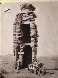 Ruined temple on bank of river, Telkupi, Manbhum District.